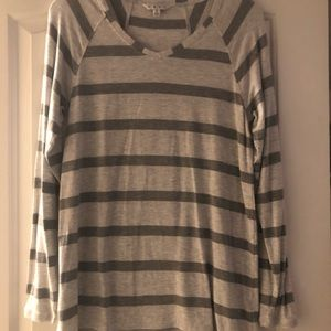 Tunic length striped long sleeve T-shirt.